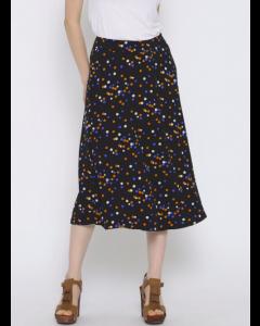 Black Polka Dot Print A-Line Skirt