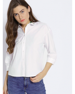 White Regular Fit Solid Casual Shirt