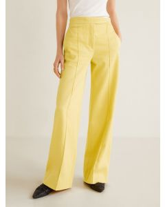 Yellow Regular Fit Solid Corduroy Bootcut Trousers