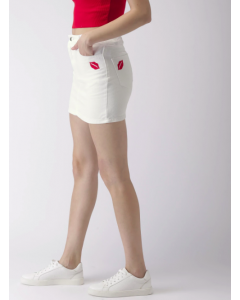 Women White Embroidered Mini Denim Straight Skirt