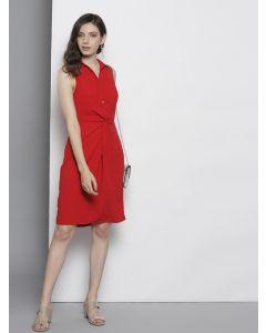 Women Red Solid Trendy Shirt Dress