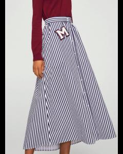 Women White & Navy Striped Maxi A-Line Skirt