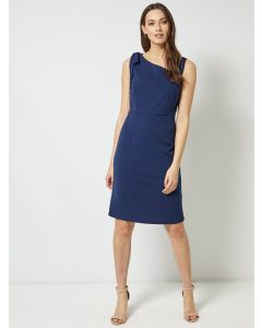 Women Navy Blue Solid Sheath Knee Length Dress