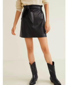 Women Black Solid Mini Premium A-Line Skirt