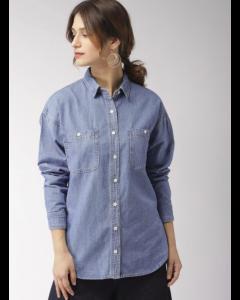 Blue Regular Fit Solid Denim Shirt