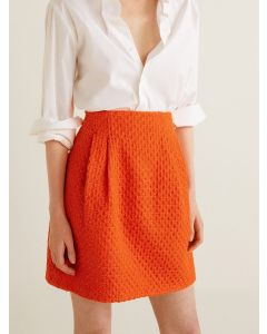 Orange Patterned Mini A-Line Skirt