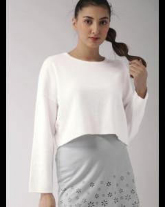 White Sweater Solid Design