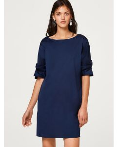 Women Navy Blue Solid A-Line Mini Dress
