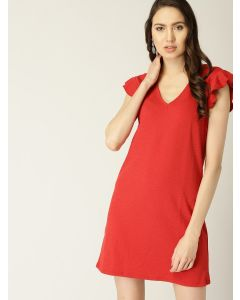 Red Solid A-Line V Neck Dress