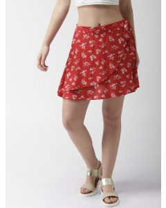 Red & White Floral Print Print Mini Wrap Skirt