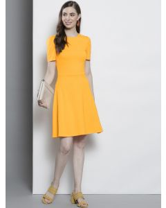 Women Yellow Fit and Flare Round Neck Dress