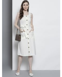Women Off-White Solid A-Line Dress