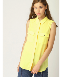 Women Yellow Solid Regular Fit Shirt