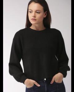 Women Black Striped Pullover Sweater