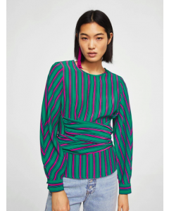 Women Green & Pink Striped Top