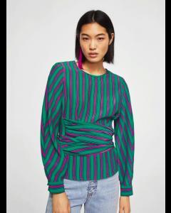 Women Green & Pink Striped Top