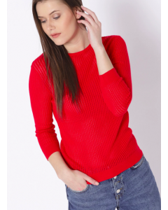 Women Red Self Design Pullover