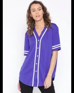 Blue Regular Fit Printed Back Collarless Casual Shirt