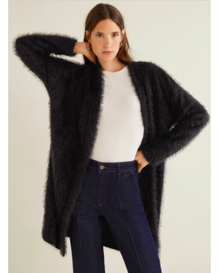 Women Black Fuzzy Longline Front-Open Sweater