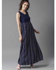 Women Navy Blue  Striped Maxi Dress