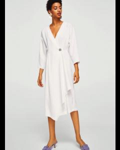 Women White Solid Wrap V neck Dress