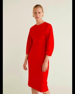 Round neck Red Solid Sheath Dress