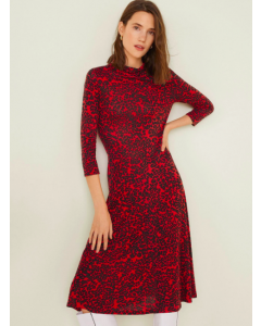 Women Red & Black Animal Print Midi A-Line Dress