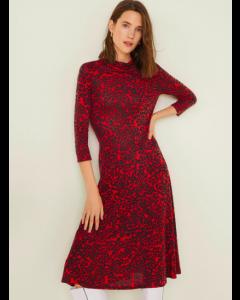 Women Red & Black Animal Print Midi A-Line Dress