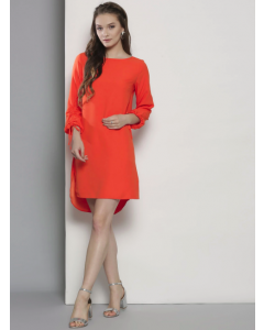 Women Orange Solid Round neck Dress