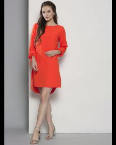 Women Orange Solid Round neck Dress