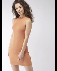 Women Nude Brown-Coloured Self-Striped Sweater Dress