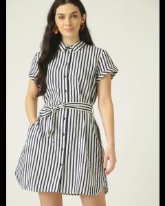 Women White & Navy Blue Striped Mini Shirt Dress