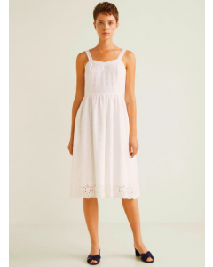 Women White Solid Shoulder Strap Dress