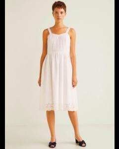 Women White Solid Shoulder Strap Dress