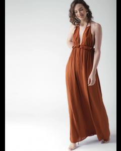 Brown Solid Viscose Maxi Dress
