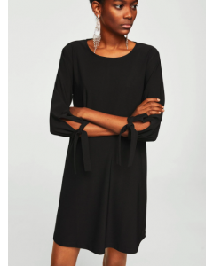 Round Neck Black Solid A-Line Dress