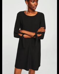 Round Neck Black Solid A-Line Dress