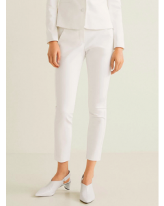 Women White Regular Fit Solid Trousers