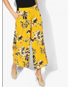 Yellow Floral Slim Fit Culottes