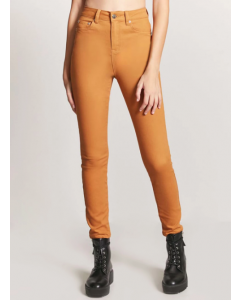 Women Brown Skinny Fit Solid Cigarette Trousers