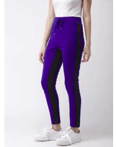 Blue & Black Regular Fit Colourblocked Cropped Trousers
